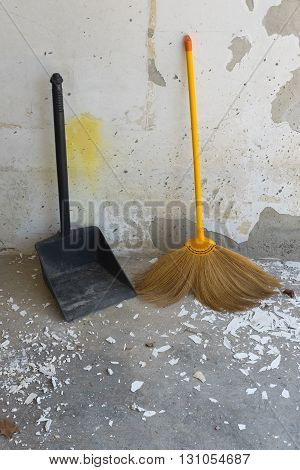 old of dustpan and broom for cleaning