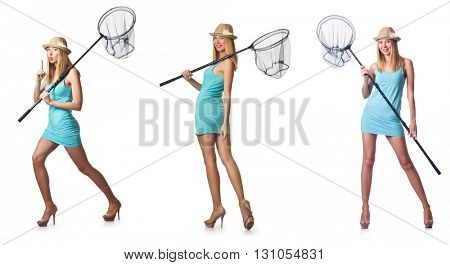 Woman with catching net isolated on white