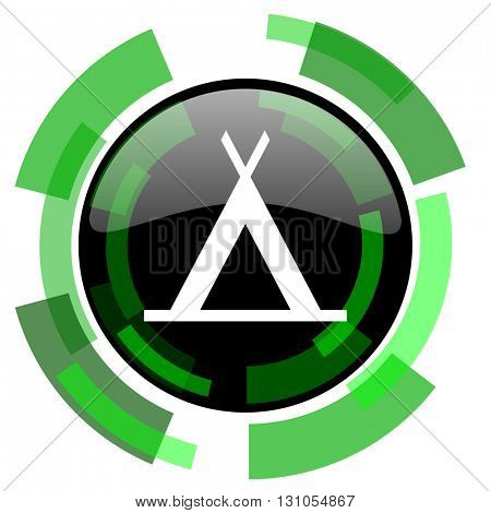 camp icon, green modern design glossy round button, web and mobile app design illustration