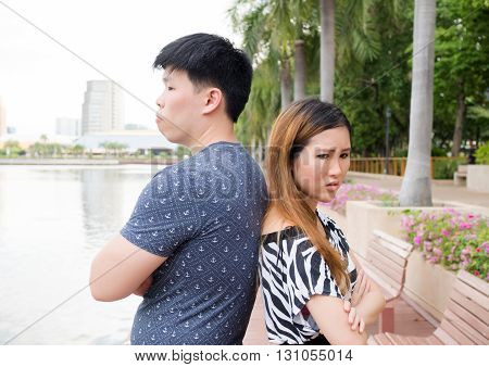 Asian Couple Being Mad At Each Other In The Park