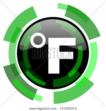 fahrenheit icon, green modern design glossy round button, web and mobile app design illustration