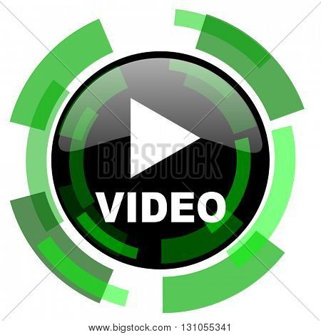 video icon, green modern design glossy round button, web and mobile app design illustration