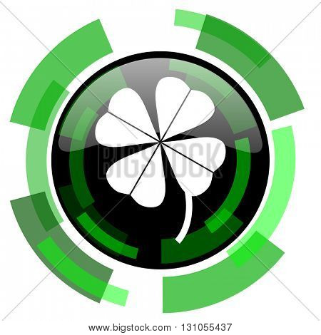 four-leaf clover icon, green modern design glossy round button, web and mobile app design illustration