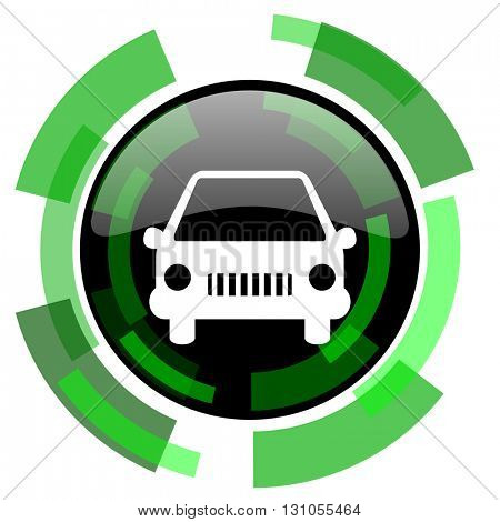 car icon, green modern design glossy round button, web and mobile app design illustration