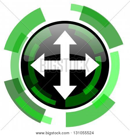 arrow icon, green modern design glossy round button, web and mobile app design illustration