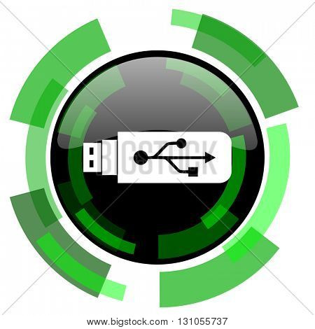 usb icon, green modern design glossy round button, web and mobile app design illustration