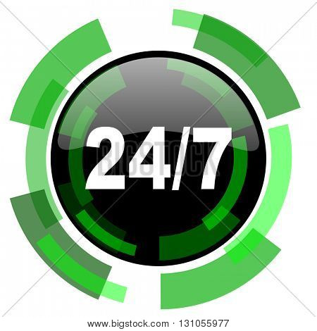24/7 icon, green modern design glossy round button, web and mobile app design illustration
