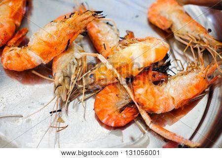 Fresh many Grilled prawned served on dish