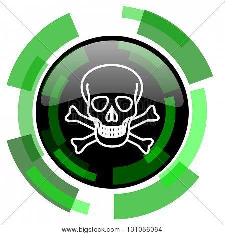 skull icon, green modern design glossy round button, web and mobile app design illustration