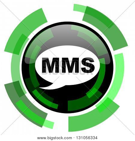 mms icon, green modern design glossy round button, web and mobile app design illustration