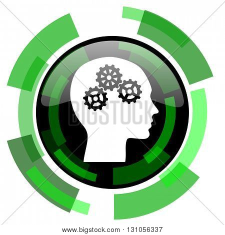 head icon, green modern design glossy round button, web and mobile app design illustration