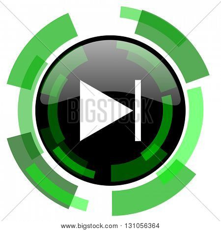next icon, green modern design glossy round button, web and mobile app design illustration