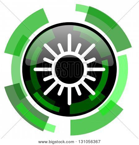 sun icon, green modern design glossy round button, web and mobile app design illustration
