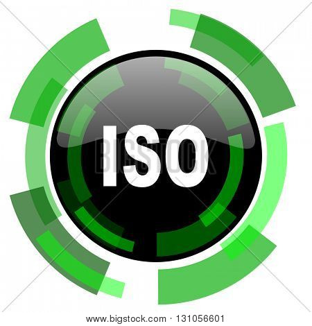 iso icon, green modern design glossy round button, web and mobile app design illustration