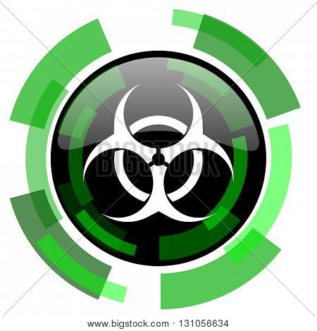 biohazard icon, green modern design glossy round button, web and mobile app design illustration