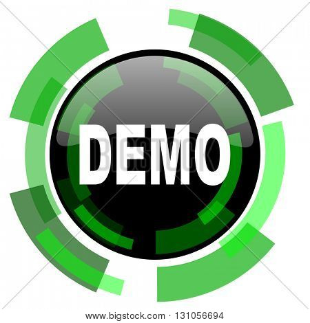 demo icon, green modern design glossy round button, web and mobile app design illustration