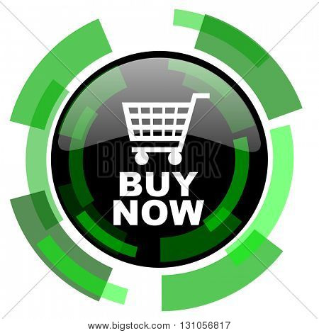 buy now icon, green modern design glossy round button, web and mobile app design illustration