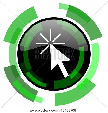 click here icon, green modern design glossy round button, web and mobile app design illustration