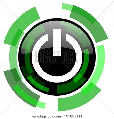 power icon, green modern design glossy round button, web and mobile app design illustration