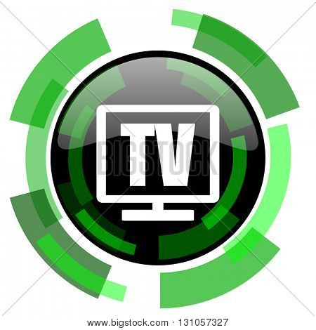 tv icon, green modern design glossy round button, web and mobile app design illustration