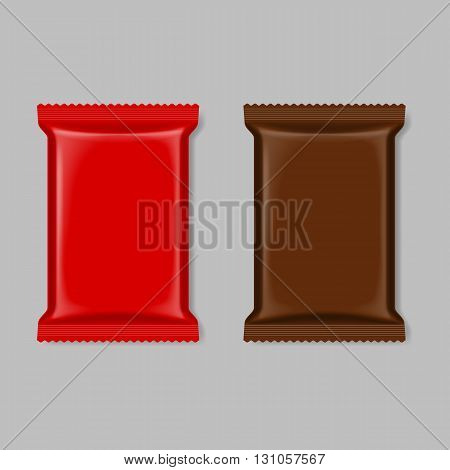 Set of polymer packaging in red and brown color