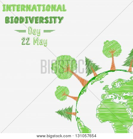 Vector illustration of Biodiversity international day with shape paintings