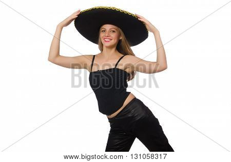 Woman wearing sombrero on the white