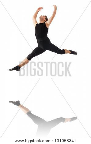Young dancer isolated on the white