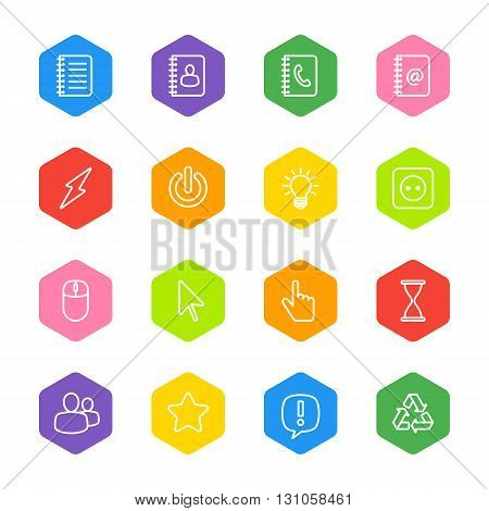 white line web icon set on colorful hexagon for web design user interface (UI) infographic and mobile application (apps)