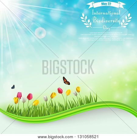 Vector illustration of Biodiversity meadow background with tulip flowers and butterflies