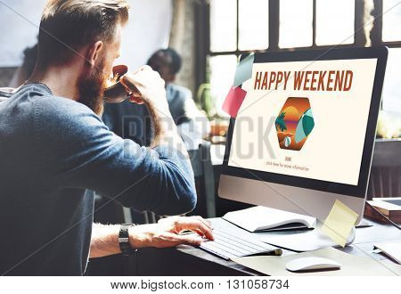Happy Weekend Holiday Vacation Free  Concept