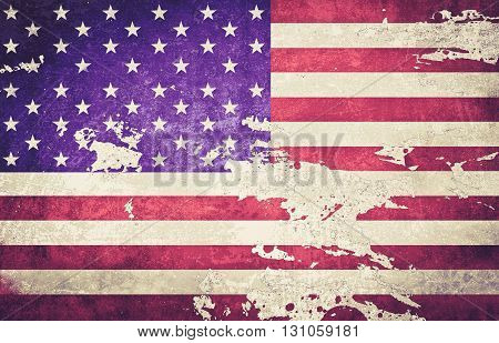 vintage color tone of The American flag with dirt grunge for independence day background