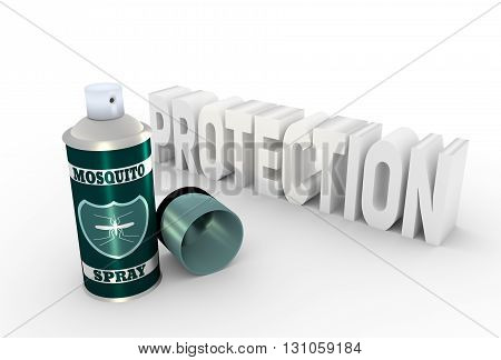 Illustration of anti-mosquito spray with cap over white background. 3D rendering. Metallic painting label. Mosquito spray text and shield icon.