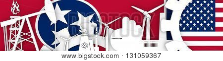 Energy and Power icons set. Header banner with Tennessee and USA flags. Sustainable energy generation and heavy industry. 3D rendering