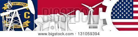 Energy and Power icons set. Header banner with North Carolina and USA flags. Sustainable energy generation and heavy industry. 3D rendering