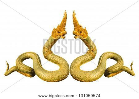 Naga Thai statue isolate on white background