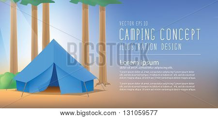 Illustration vector blue camp tent the among nature of trees and forests banner.