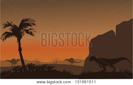 Silhouette of Spinosaurus and Allosaurus at the afternoon