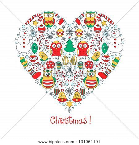 Christmas heart. Vector hand drawn heart with doodle winter elements. Snowman owls mittens socks berries bells snowflakes stars teacups. On white background.