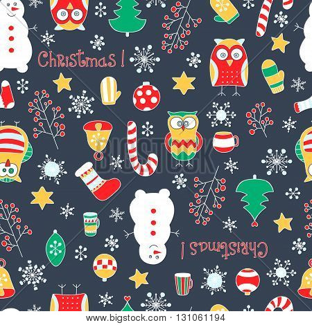 Christmas seamless pattern. Vector hand drawn winter elements. Fun doodle background for kids. Snowflake owl christmas tree mittens socks. On grey background.