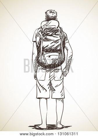 Sketch of young man standing with backpack, Hand drawn illustration back view