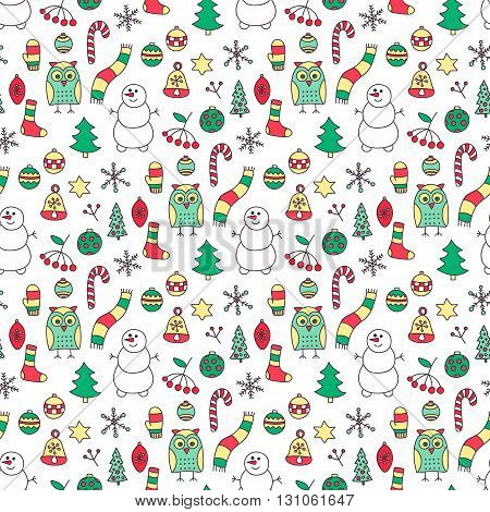 Winter seamless pattern. Hand drawn doodle winter elements - spruce owl snowman scarf mittens socks star berries branch snowflake Christmas tree balls. Red green yellow colors.