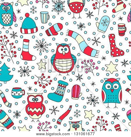 Christmas seamless pattern. Vector hand drawn winter elements. Fun doodle background for kids. Snowflake owl christmas tree mittens socks. On white background.