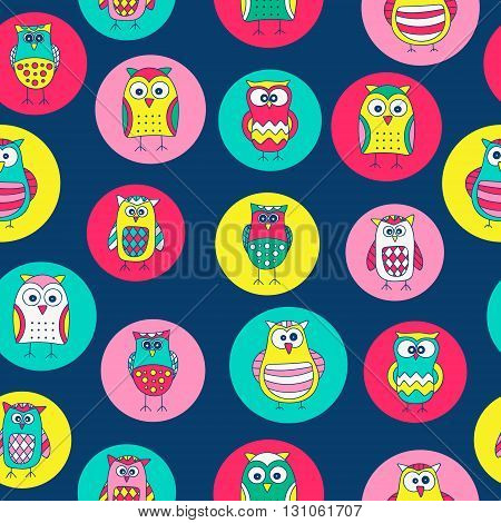 Seamless pattern with hand drawn doodle owls. Cute background for kids. Vector pattern. Bright colors - yellow pink green white.