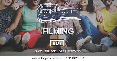 Filming Entertainment Front Row Ticket Movie Media Concept