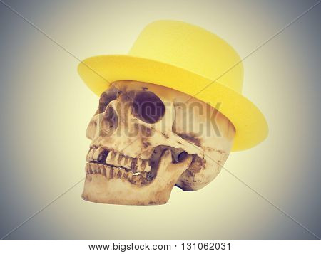 Skull in the yellow hat isolated on gray background.