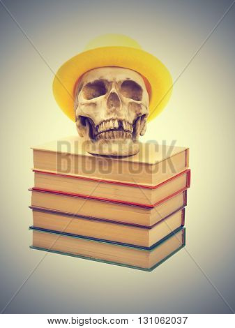 Skull in yellow hat on books isolated on gray background.