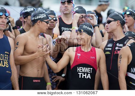 Chonburi Thailand - May 21 2016: Pattaya Triathlon Super Series 2016 event at Pattaya beach in Chonburi.