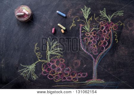 Glass With Red Grapes