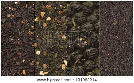 tea varieties green black balls and floral vertical collage